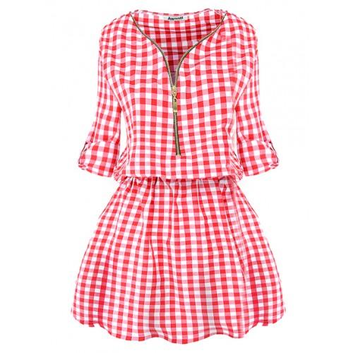 Sukienka Krata ZIP Czerwona