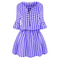 Sukienka Krata ZIP Niebieska