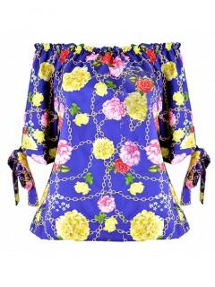 Bluzka Flowers Cobalt