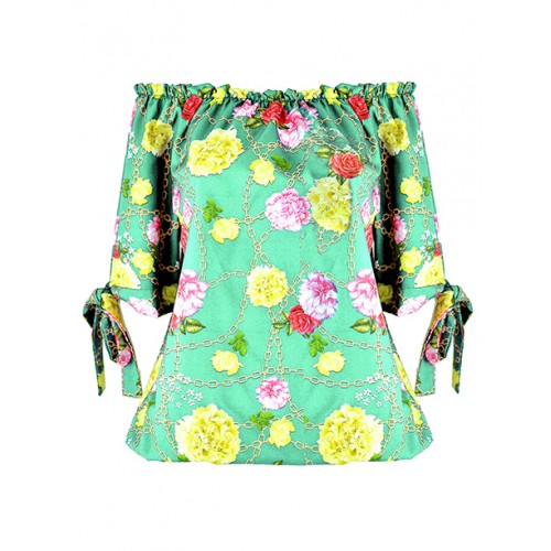 Bluzka Flowers Mint