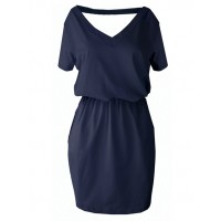 Sukienka V-neck Navy Blue