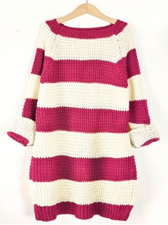 Sweter STRIPED Fuksja