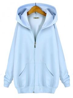 Bluza Basic Zip Pastel Blue