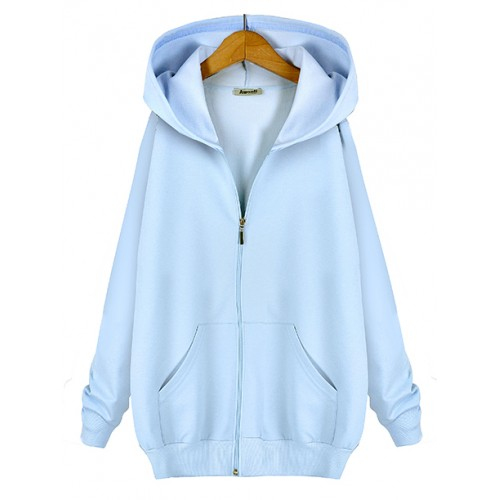 Bluza Basic Zip Pastel Blue