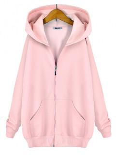 Bluza Basic Zip Pastel Pink