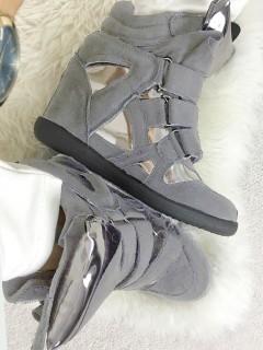 Sneakersy Zamsz Silver