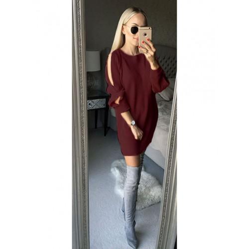 Sweterek Rozcięcia Bordowy