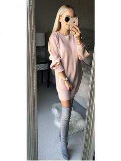 Sweterek Rozcięcia Pudrowy