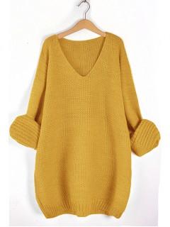Sweter V-Neck Mustard