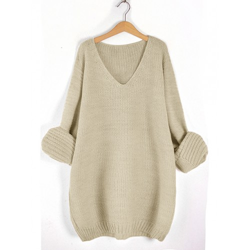 Sweter V-Neck Beżowy