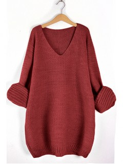 Sweter V-Neck Bordowy