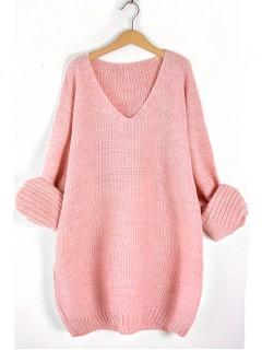 Sweter V-Neck Pastel Pink
