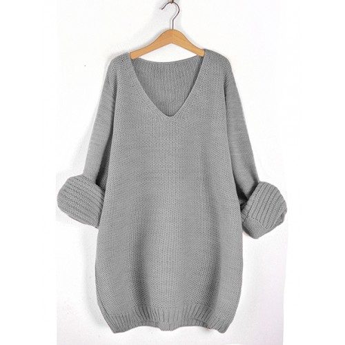 Sweter V-Neck Stylish Grey