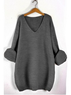 Sweter V-Neck Dark Grey
