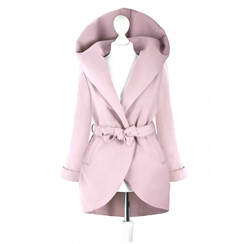 Płaszcz Flausz Kaptur Pastel Pink