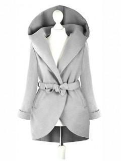 Płaszcz Flausz Kaptur Grey