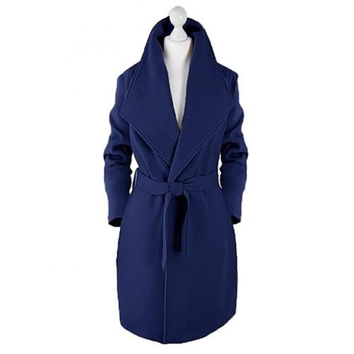 Płaszcz Flausz Kołnierz Navy Blue