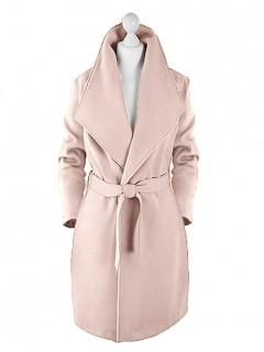 Płaszcz Flausz Kołnierz Pastel Pink