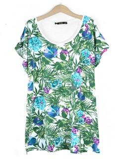 Bluzka Flowers Turquoise