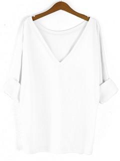 Bluzka Obustronny V-NECK Biały
