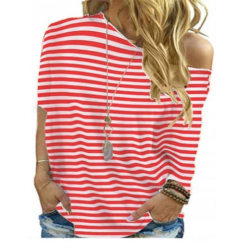 Bluzka Plus Size Paski Czerwone