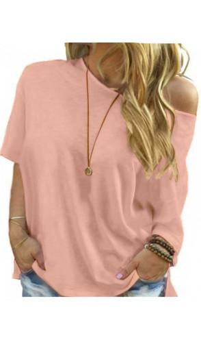 Bluzka Plus Size Brudny Róż