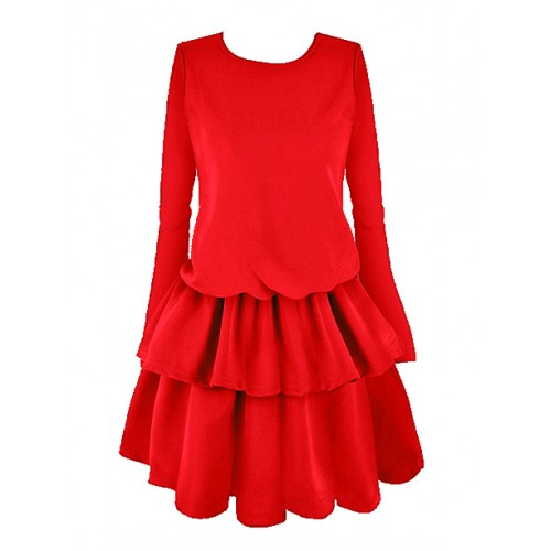 Sukienka Falbany Czerwona