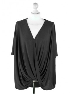 Bluzka Wrap Plus Size Black