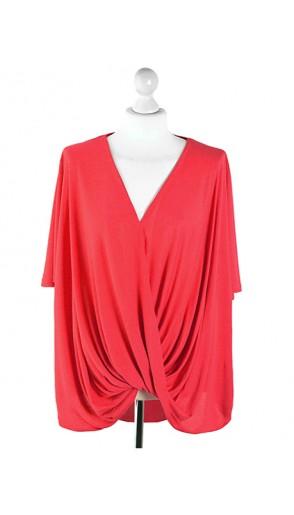 Bluzka Wrap Plus Size Coral