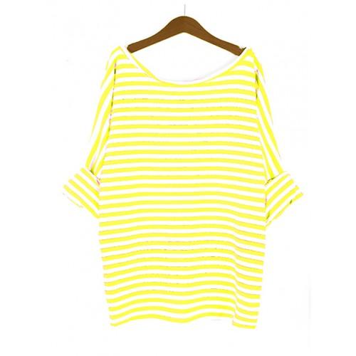 Bluzka Obustronny V-NECK Żółte Paski