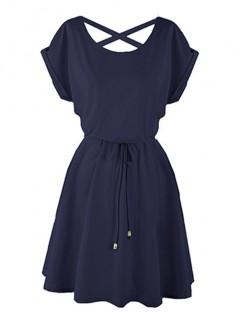 Sukienka Strapsy Granatowa