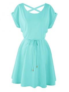 Sukienka Strapsy Niebieska