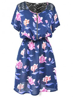 Sukienka ZIP Flower Navy Blue