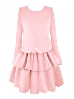 Sukienka Falbany Pastelowy Róż