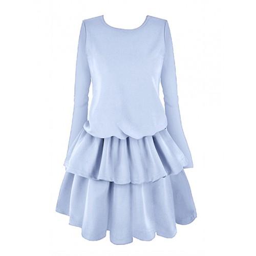 Sukienka Falbany Zgaszony Niebieski