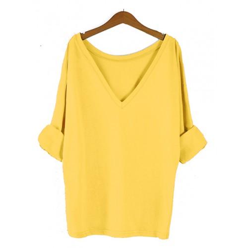 Bluzka Obustronny V-NECK Mustard