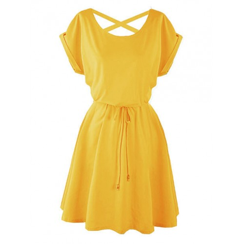 Sukienka Strapsy Żółta