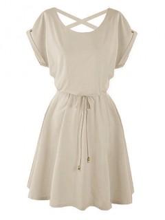 Sukienka Strapsy Beżowa