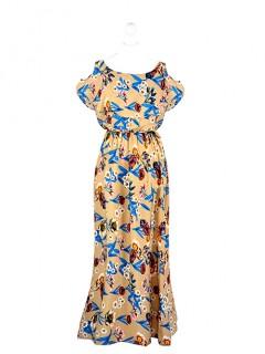 Sukienka Maxi Hiszpanka Beżowa