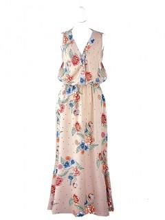 Sukienka Maxi Guziczki Beżowa
