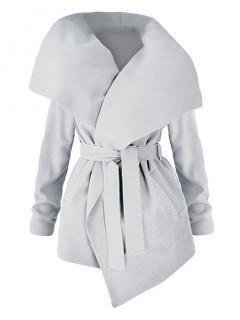 Płaszcz Flausz Wrap Pastelowy Szary