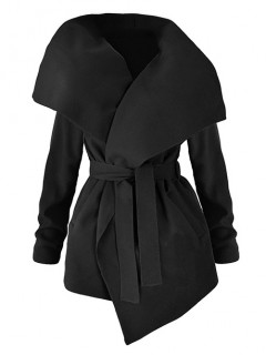 Płaszcz Flausz Wrap Czarny