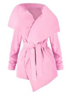 Płaszcz Flausz Wrap Różowy