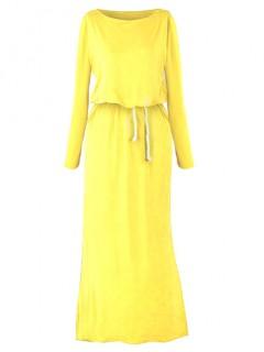 Sukienka Maxi Kanarkowa