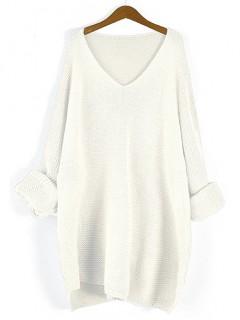 Sweter Prążek Biały
