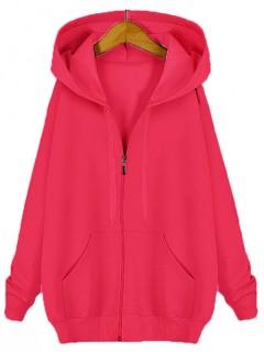 Bluza Basic Zip Malinowa