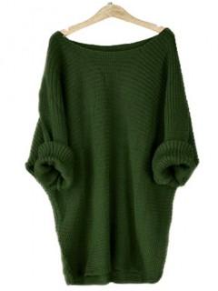 Sweter Nietoperz Oliwkowy