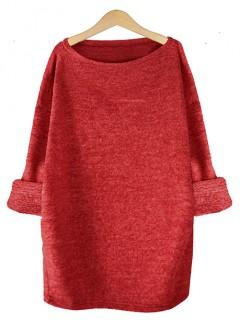 Sweter Dzianina Czerwony