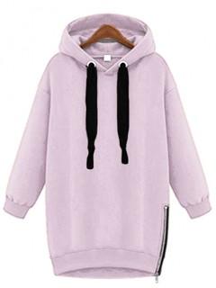 Bluza Basic Zip Liliowa