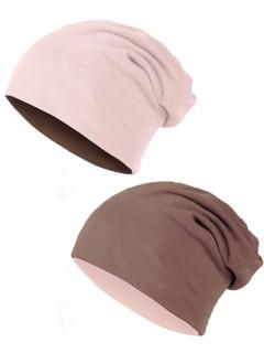 Czapka Bawełniana Dwustronna Różowo Kakaowa